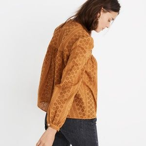 NWT Madewell Eyelet Double-Tie Peasant Top